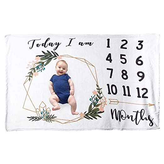 "Milestone Blanket, Idealhouse Super Soft FlannelBaby Monthly Milestone Blanket, Large Size 60""x40"", Thicker, Ideal for Boy Girl Newborn Infants Toddlers Photography Props, Best Baby Shower Gifts"