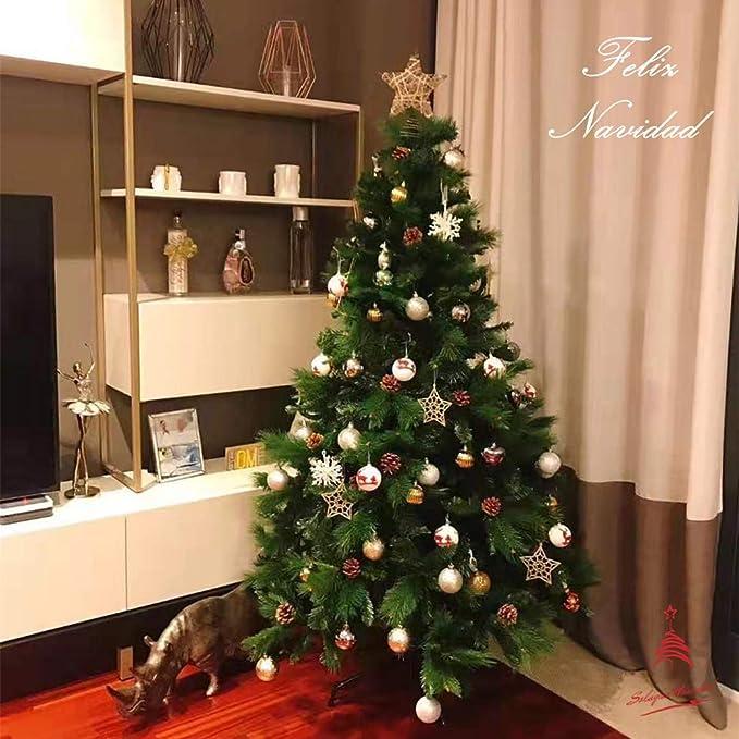 Árbol de Navidad Artificial de Pino Maxi-Relleno Abeto Artificial C/Soporte Metálico 150-240cm (Verde, 180cm 690Tips): Amazon.es: Hogar