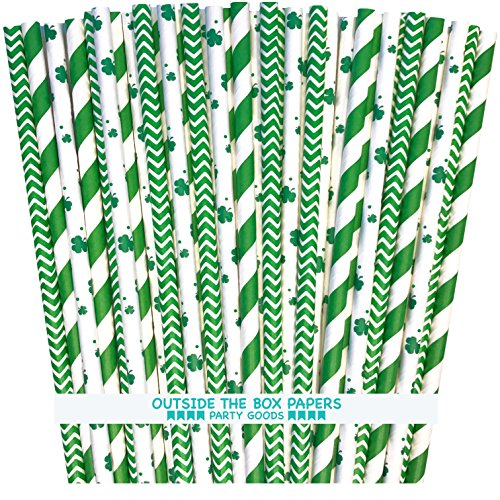 St. Patrick's Day Shamrock, Stripe and Chevron Irish Theme Paper Straws - Green and White - 7.75 Inches - 100 Pack