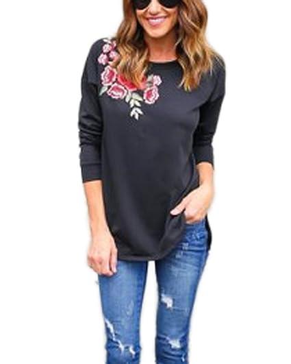 Auxo Damen Blumen Langarm Oversize Party T-Shirt Sweatshirt Tunika Oberteile  Tops Schwarz EU 36 76269a4db8