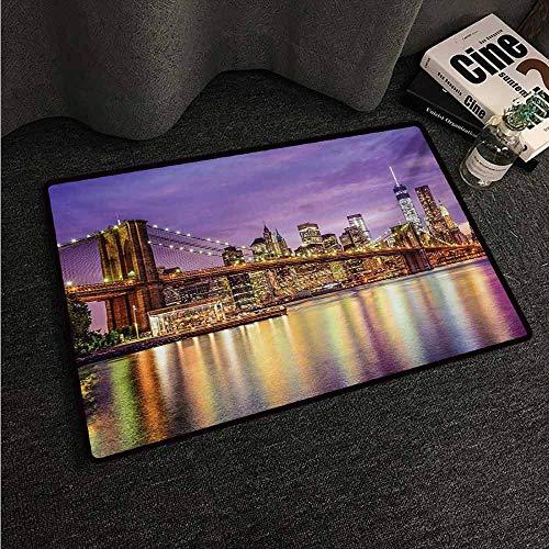 (HCCJLCKS Washable Doormat New York NYC Exquisite Skyline Manhattan Broadway Old Neighborhood Tourist Country Print Machine wash/Non-Slip W24 xL35 Purple Gold)