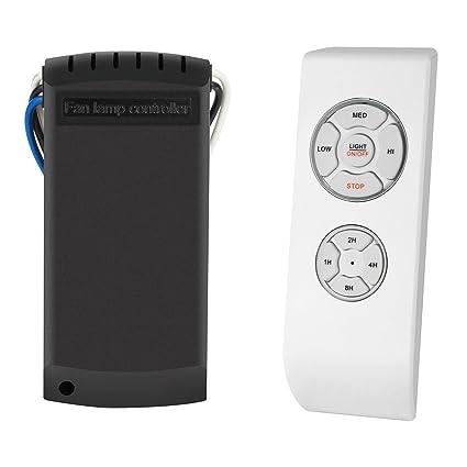 SAGESSE Control remoto para ventilador de techo Controlador de lámpara de ventilador,Kit de control remoto inalámbrico de lámpara de luz de techo ...