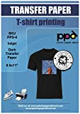"""PPD Inkjet Iron-On Dark T Shirt Transfers Paper LTR 8.5x11"""" Pack of 5 Sheets"""