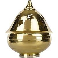 SLN Retail Brass Apple Shape Akhand Diya with Designed Star Holes on Top