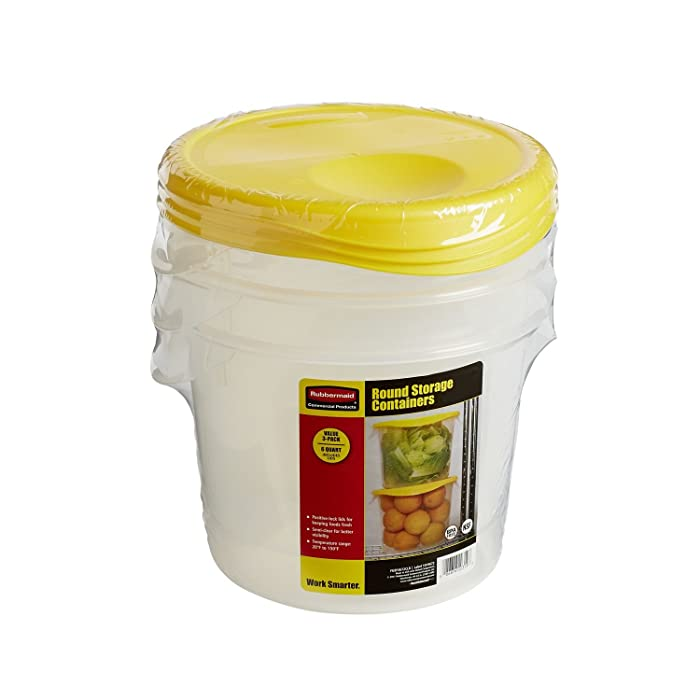 Rubbermaid Commercial Products Food Storage Container with Lid for Kitchen, Round and Clear, 6 Quart