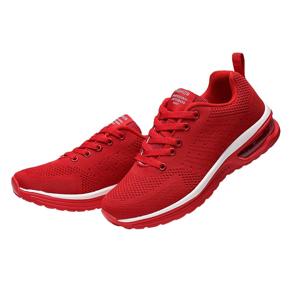 Yiwanjia ⭐>U<⭐ Women's Mesh Shoes Athletic Walking Running Shoes Comfortable Lightweight Sneaker (US:8.5,Red) by Yiwanjia-Shoes