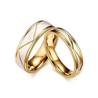 b4276338300d BOBIJOO Jewelry - Alianza Anillo Anillo Dorado de Oro Acabado Satinado  Grabado de la Boda de