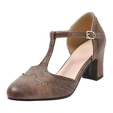 Coolulu Damen T Strap Pumps Blockabsatz mit Riemchen Pumps Geschlossen Frühling Sommer Schuhe