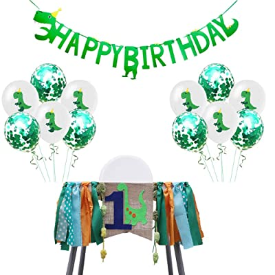 1st Birthday Decorations Set Boys Dinosaur Highchair Banner Balloons Wall Happy Birthday Banner Party Supplies Favors For Baby Shower: Toys & Games