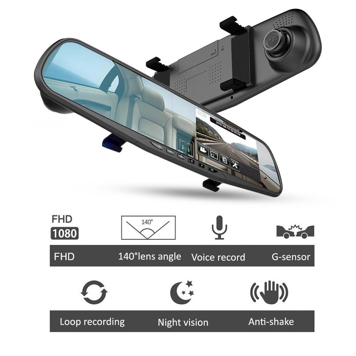 Amazon.com: Camara Para Carro Espejo Retrovisor + Camara Trasera Para Carro Seguridad Con Detector Movimiento Vision Noche Card SD 16G: Car Electronics