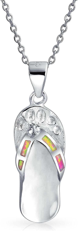 Azul rosa arco iris creado opal sandalia flip flop colgante collar para las mujeres adolescentes 925 plata esterlina octubre piedra de nacimiento