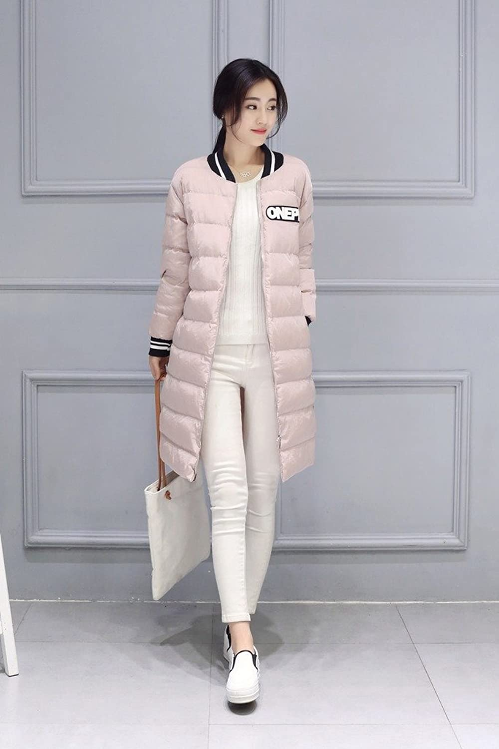 Smile YKK Womens Winter Stand Collar Cotton Parka Coat Long Jacket
