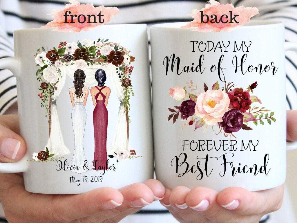 Taza de café personalizable para dama de honor, regalo para mi mejor amiga, regalo de boda para hermana, regalo personalizado para boda