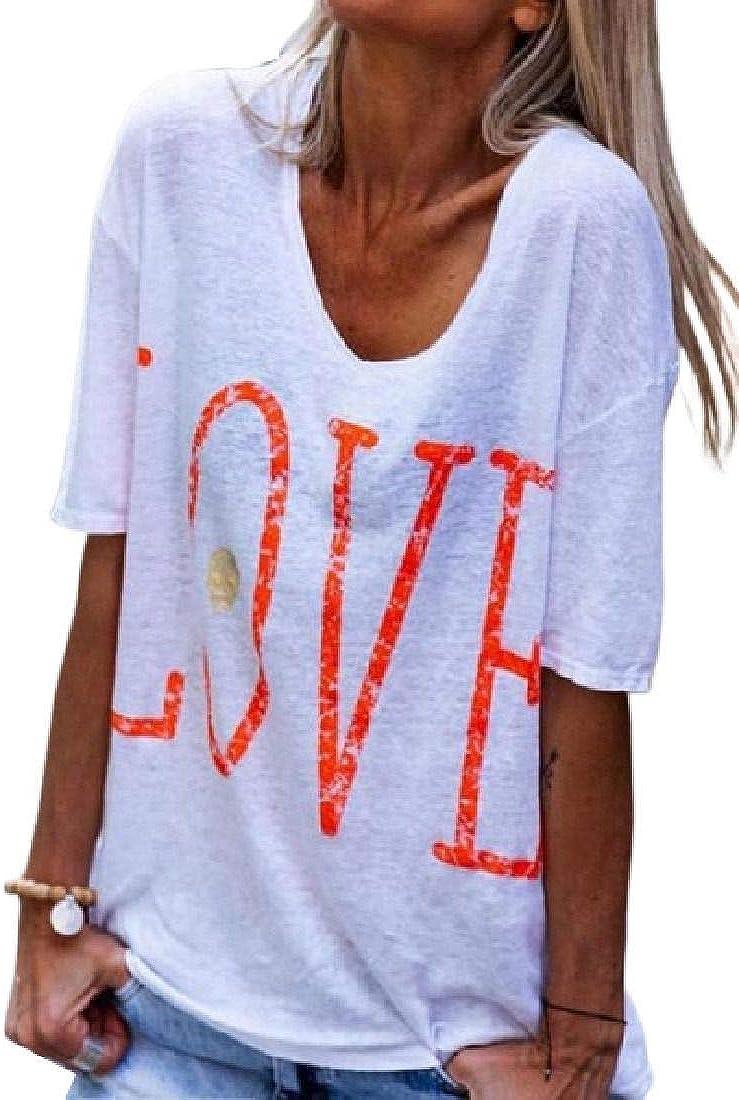 Zantt Womens V Neck Cotton Letters Print Basic T-Shirts Blouse Tops