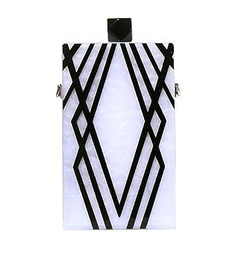 14225f3457 BeautyWJY Acrylic Striped Clutch Purse Silver and Gold Box Evening  Crossbody Bags Women 1#