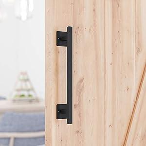 "SMARTSTANDARD 12"" Antique Rustic Handmade Barn Door Handle Black Flush Square Base Handle Pull for Gate Door Cabinet"