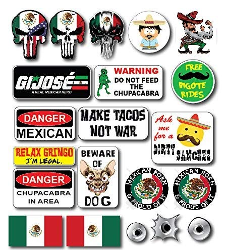 - 23 pieces XL SET | Hard Hat Stickers Mexican Flag Mexico USA Decals President Election