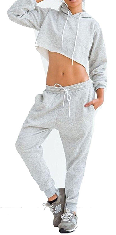 WorkTd Women's Crop Top Hoodie Pant 2 Pcs Sweatsuit Set Sports Outfit Grey L