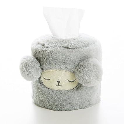 Redondo con forma de peluche Alpaca servilletas de papel higiénico caja de pañuelos Case Soporte Cover
