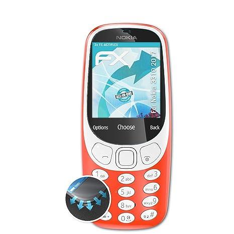 atFolix Schutzfolie passend für Nokia 3310 2017 Folie, ultraklare und Flexible FX Displayschutzfolie (3X)