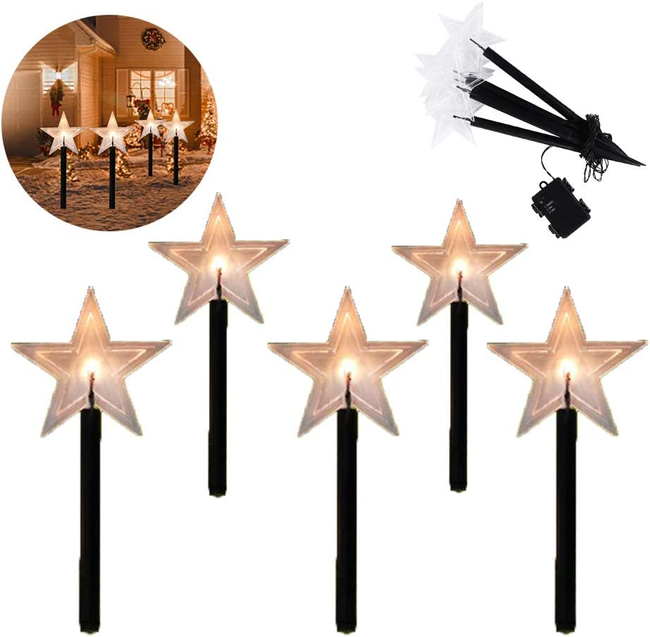 Outdoor Solar Lights, Christmas Star Garden Stake Lights, Led Light Star, Use Solar Energy to Charge, Suitable for Outdoor Decoration Such As Party, Christmas 1SET