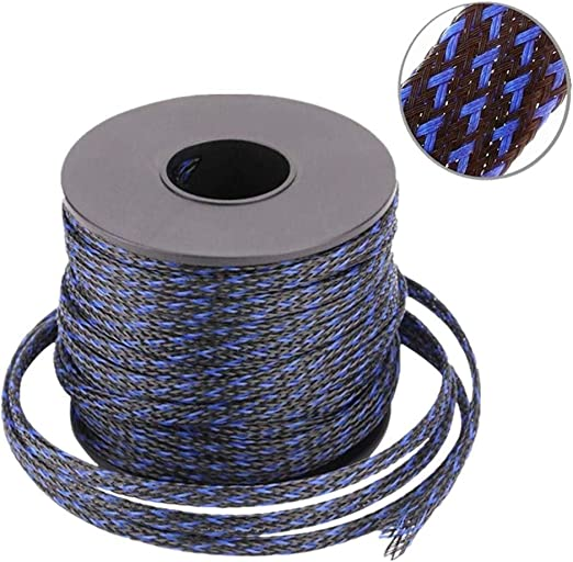 100ft Alex Tech Braided Cable Sleeve 3//4 inch Flexo PET Expandable Braided Sleeving BlackRed