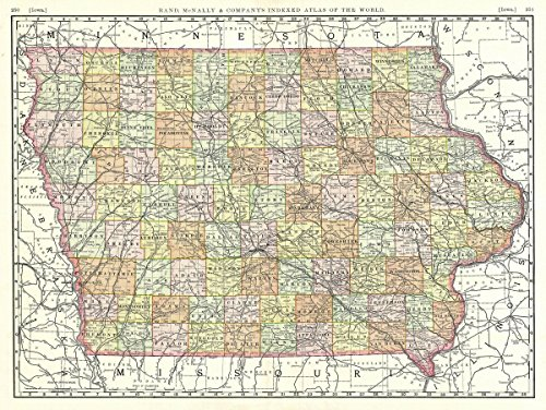 Map Atlas Railroad Rare (Historical 1889 Rand McNally Map of Iowa |18 x 24 Fine Art Print | Antique Vintage Map)