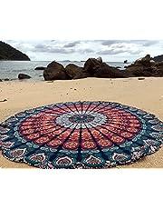 Raajase, Tappeto Rotondo Mandala in Stile Hippy, Utilizzabile Come copriletto, arazzo Decorativo, tovaglia, Telo da Mare, Pannello Decorativo, Tappeto per Yoga, Cotone, Blue, 70 inch