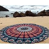 raajsee Round Beach Tapestry Hippie/Boho Mandala Beach Towel Blanket Indian Cotton Bohemian Round Table Cloth Mandala Decor/Yoga Mat Meditation Picnic Rugs 70 inch Circle (Blue Orange)