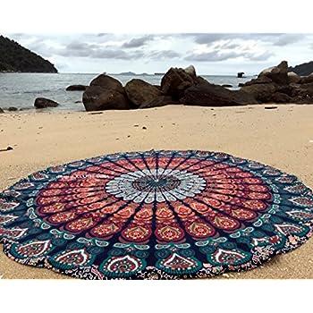 raajsee Round Beach Tapestry Blue Orange Mandala Throw/Boho Hippie Beach Blanket Roundie Circle/Indian Cotton Bohemian Large Round Table Cloth/Yoga Mat Meditation Picnic Rug 70 inch/A