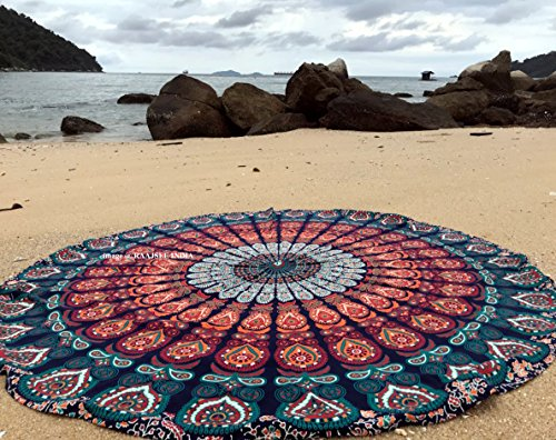 raajsee Round Beach Tapestry Blue Orange Mandala Throw/Boho...