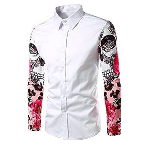 Lisli Fashion Mens Luxury Casual Dress Shirts Slim Fit Long Sleeve Tops Shirts (US M, White)