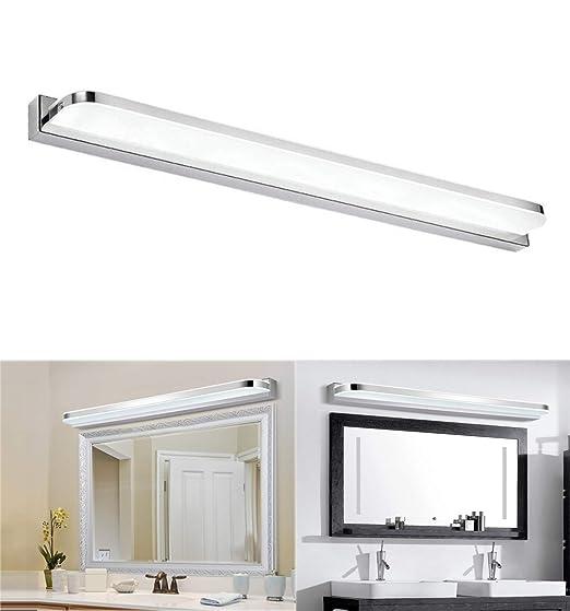 Glighone 14W 62cm Luz Baño Lámpara Espejo LED 850LM 2835SMD 6500k Luz de Maquillaje contra Niebla Impermeable Apliques Acero Inoxidable para Tocador ...
