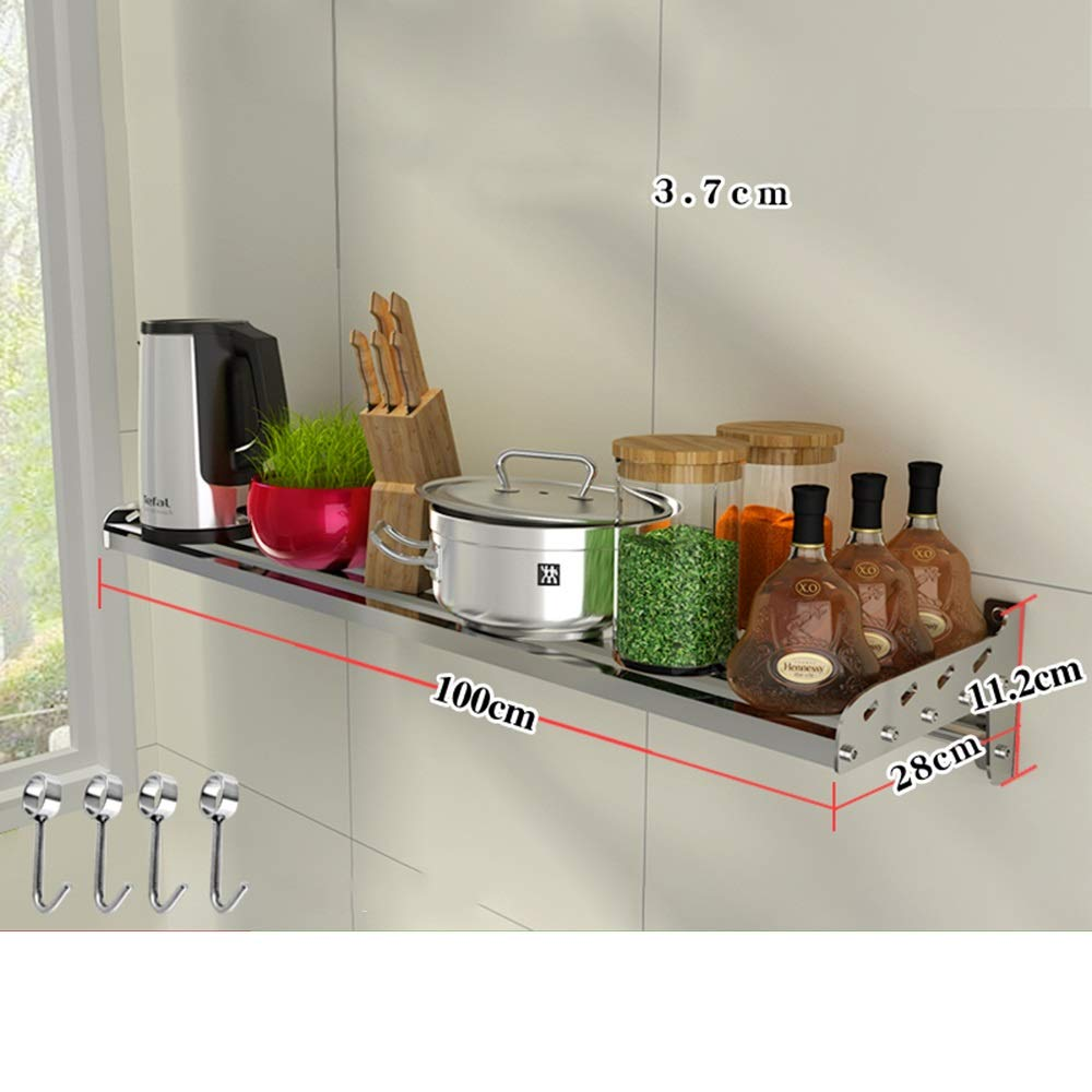 HUO 304 Stainless Steel Kitchen Rack Wall-Mounted Partition Bracket Kitchen Storage Rack Multifunction (Color : 28CM, Size : 100cm)