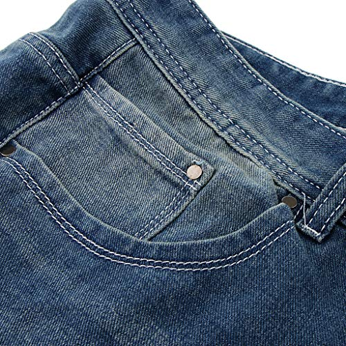 36 Pantaloni 32 Buco Unisex Bassa 30 In 34 E Blu Baoblaze Jeans Bianco Vita Denim Comfort A Taglie 6wgx7