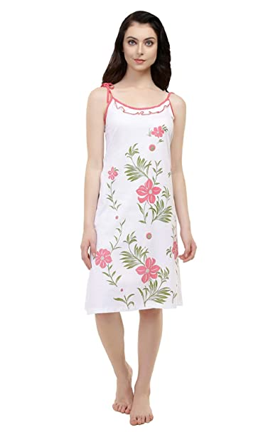 8b8bc323d9 Red Rose Short Nighty for Women - Peach Sleeveless Printed Nighty for Women  - Tshirt Nighty - Knee Length Night Dress - Stylish ...