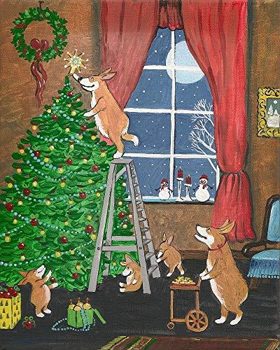 8X10 PRINT OF ORIGINAL PAINTING RYTA CHRISTMAS TREE WINTER SEASONAL GIFTS WREATH PEMBROKE WELSH CORGI PET DOG HOME SEASONAL INTERIOR DECORA DESIGN DECORATION FINE WALL ART MOON SNOWMAN