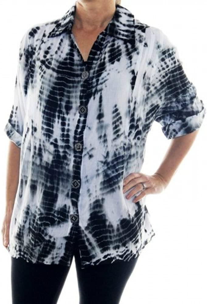 We Be Bop ChaiLatte Tie Dye White Black Cotton Barbara Top 1X Bust 58 Hips 60Length 34