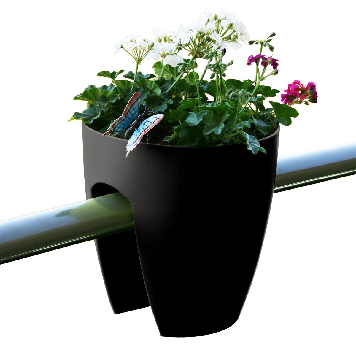 Greenbo Deck Rail Planter Box with Drainage trays, round 12-Inch, Color Black – Set of 6