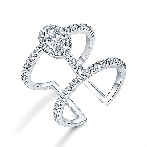 carsinel Fashion ajustable anillos de boda para mujeres niñas Pave ajuste claro AA CZ Diamond