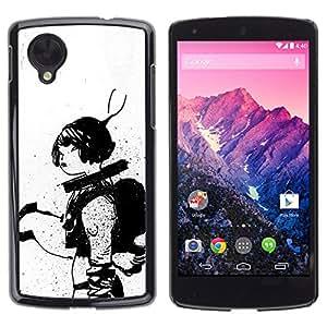 GOODTHINGS Funda Imagen Diseño Carcasa Tapa Trasera Negro Cover Skin Case para LG Google Nexus 5 D820 D821 - astronauta boceto mujer blanca negro