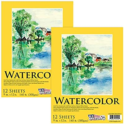 """U.S. Art Supply 9"""" x 12"""" Premium Heavy-Weight Watercolor Painting Paper Pad, 60 Pound (300gsm), Pad of 12-Sheets (Pack of 2 Pads)"""