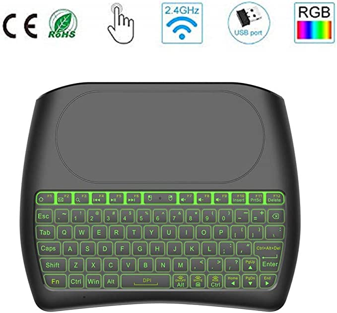Teclado inalámbrico con Almohadilla táctil, 2.4GHz Mini Teclado Recargable Multimedia portátil de Mano para Android TV Box, HTPC, Smart TV, computadora portátil/PC(RGB retroiluminado): Amazon.es: Electrónica