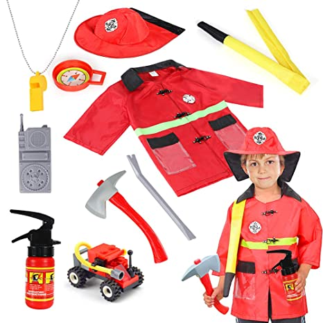 Qunan Fireman Costume Fire Chief Dress Up Pretend Role Play Kit Set with  Rescue Tools Fire Fighter Outfit Fireman Toys Halloween Costume for Kids  Boys