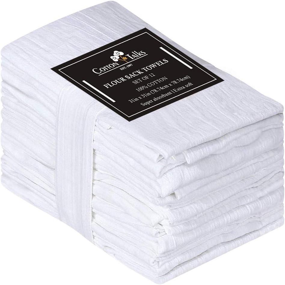 """Cotton Talks Flour Sack Towels - 31"""" x 31"""" Kitchen Dish Towels - 12 Pieces White Kitchen Towels - 100% Cotton Fabric - Multi-Purpose Towels for Kitchen - Reusable Tea Towels Extra Large"""