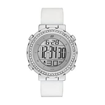 Skechers Womens Faymont Quartz Metal and Silicone Digital Watch Color: White (Model: SR6015