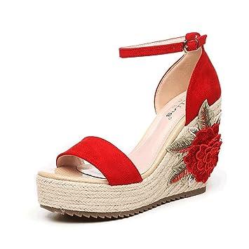 Zapatos Para Bohemia D9ehiw2 Cuña Sandalias De Bordado Flores Mujer Roja wOk0PX8n
