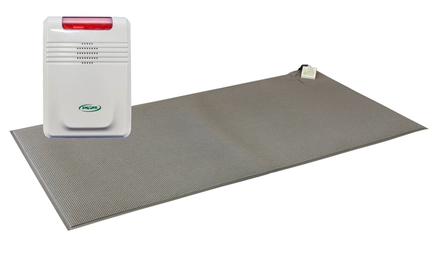 Smart Caregiver Cordless Floor Mat Pressure Pad with Economy Cordless Alarm (No Alarm in Patient's Room), Gray, 24'' x 48'' by Smart Caregiver Corporation