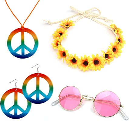 1 Piece Flower Crown Headband and 1 Pair of Hippie Sunglasses ABOAT 4 Pieces Hippie Costume Set Includes 1 Sets Rainbow Peace Sign Necklace and Earrings