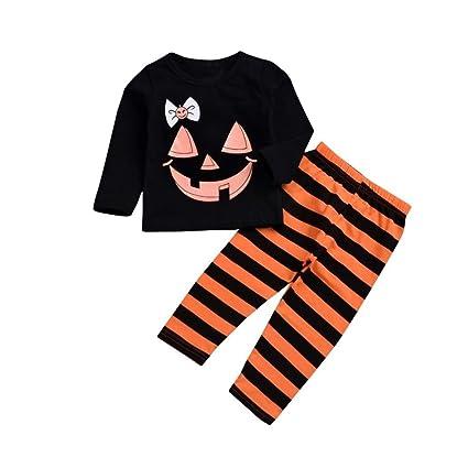 Sencillo Vida Bebé Camiseta Tops Pantalones de Halloween con Estampado de Calabaza para Bebés Niño Niña Trajes 2 Piezas: Amazon.es: Ropa y accesorios